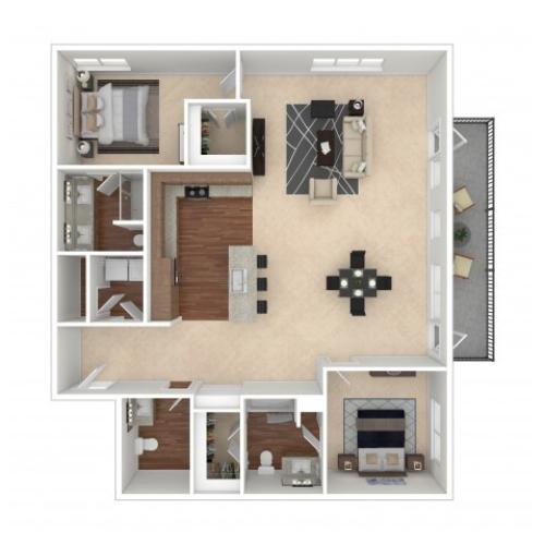 The Bonnie Floor Plan | Floor Plan 15 | Crossroads at the Gulch | Nashville Apartments For Rent