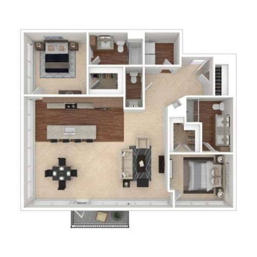 The Gail Floor Plan | Floor Plan 15 | Crossroads at the Gulch | Nashville Apartments For Rent
