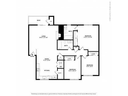 3 Bedroom Floor Plan | Apartments For Rent In Kirkland, WA | Emerson Apartments