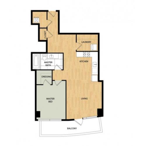 Tower One Bedroom One Bath - Spruce