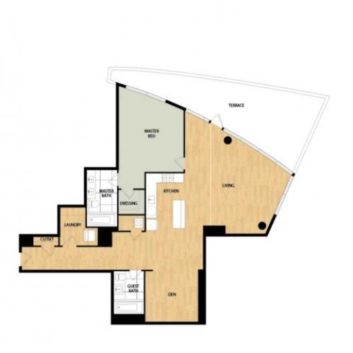 Tower One Bedroom Two Bath with Den - Larch