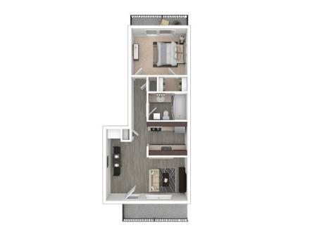 1 Bedroom Floor Plan | Apartments For Rent In Portland, OR | Arbor Creek Apartments