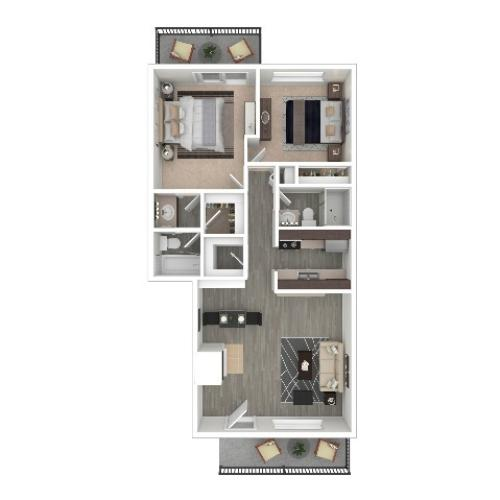 2 Bedroom Floor Plan   Apartments For Rent In Portland, OR   Arbor Creek Apartments