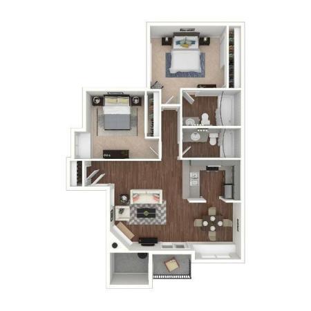 -2 Bedroom Floor Plan | Apartments For Rent In Henderson Las Vegas | Martinique Bay