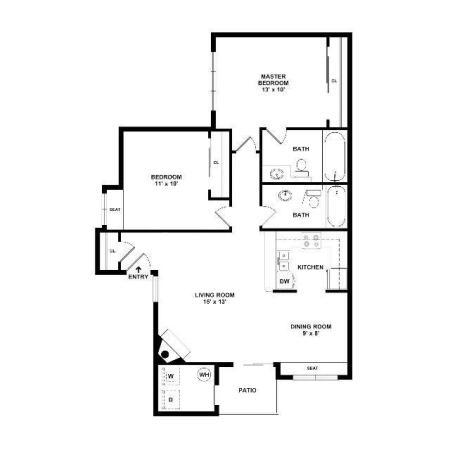 2 Bedroom Floor Plan | Apartments For Rent In Henderson Las Vegas | Martinique Bay
