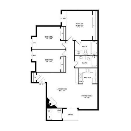 3 Bedroom Floor Plan | Luxury Apartments In Henderson Nv | Martinique Bay