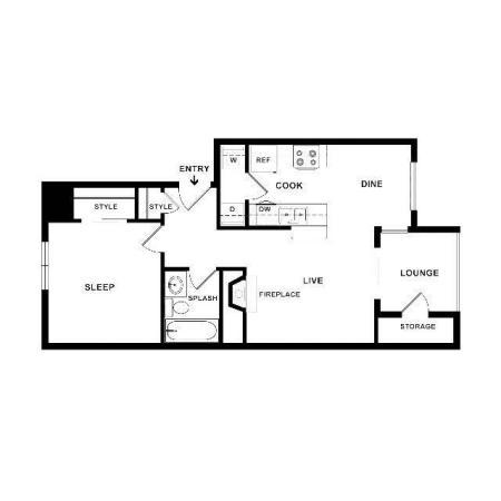 The Breaburn Floor Plan | One Bedroom One Bath | The Argyle Apartments