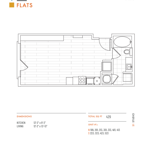 Studio Floor Plan | Apartments Lenexa KS | The District Flats