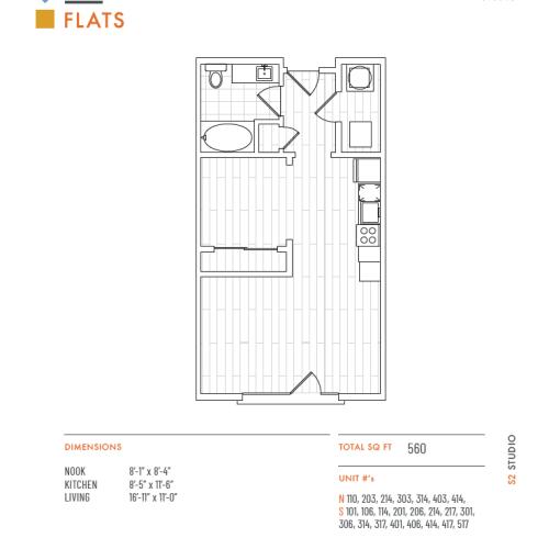 Studio Floor Plan   Apartments Lenexa KS   The District Flats