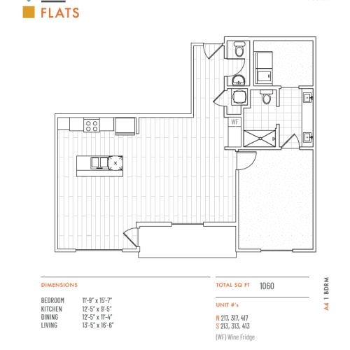 1 Bedroom Floor Plan   Apartments in Lenexa KS   The District Flats