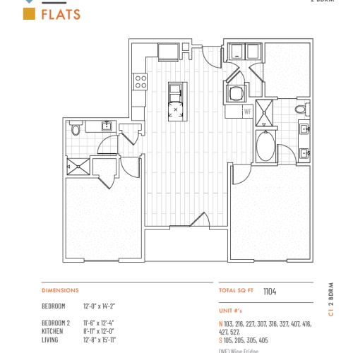 2 Bedroom Floor Plan   Apartments Lenexa KS   The District Flats