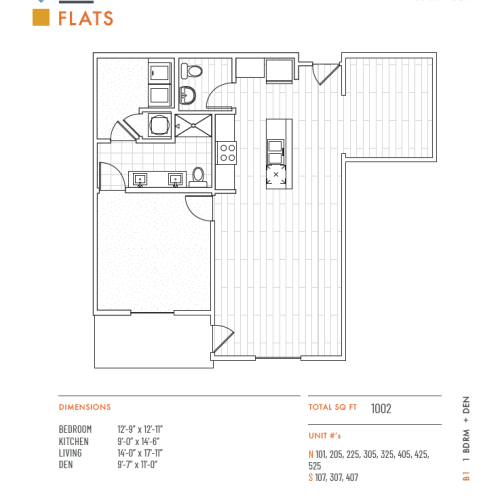1 Bedroom Floor Plan | Apartments in Lenexa KS | The District Flats
