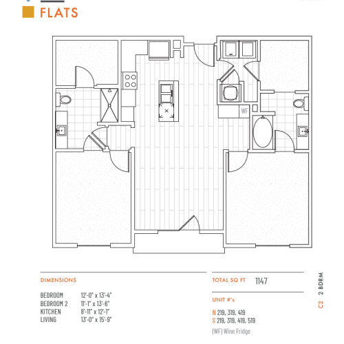 2 Bedroom Floor Plan | Apartments Lenexa KS | The District Flats