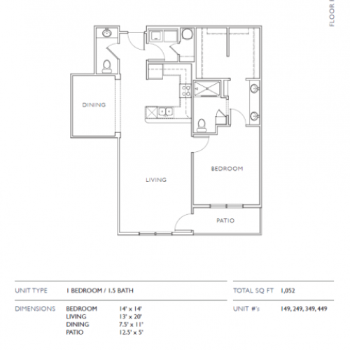 1 Bdrm Floor Plan | Leawood Apartments | Mission 106