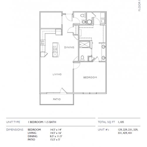 1 Bdrm Floor Plan | Leawood Apartments | Mission 106