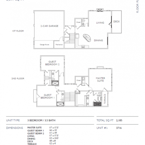 3 Bedroom Floor Plan | Leawood Kansas Apartments | Mission 106
