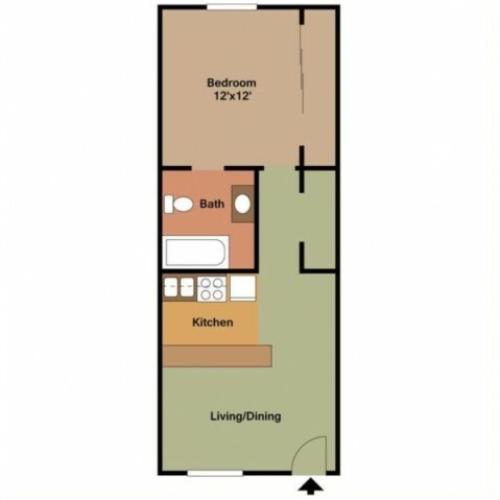 1 Bedroom Studio - 550 Sq