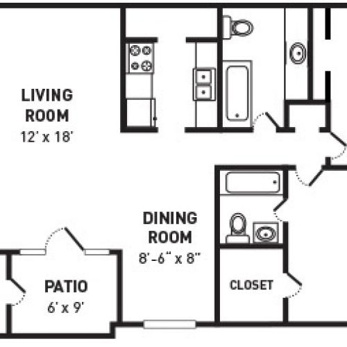 2 Bedroom 2 Bath with Den - 1060 Sq Ft