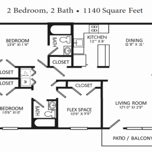 Two Bed / Two Bath with Flex Space