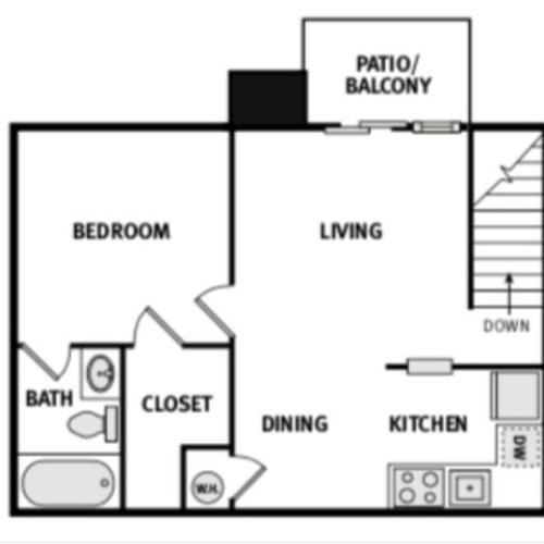 One Bed One Bath 550 Square feet