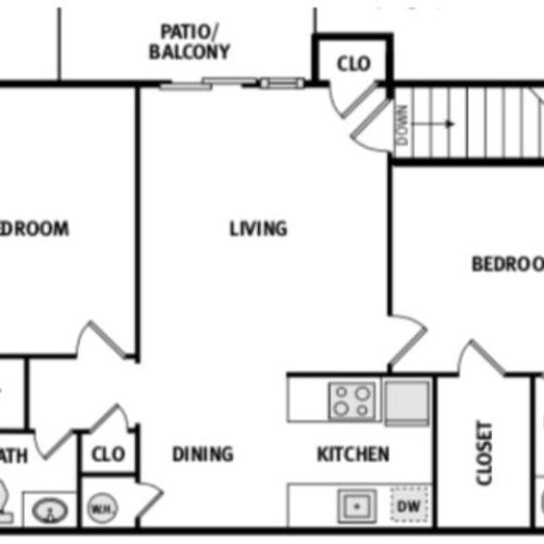 Two Bed Two Bath 925 Square feet