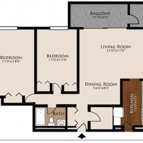 2 Bed 1 Bath Floorplan