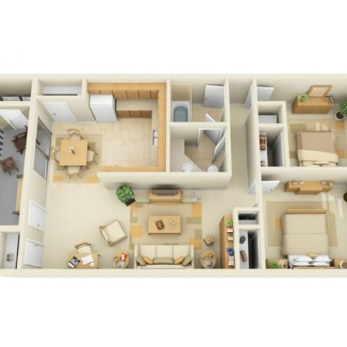 Large 2 Bedroom 1 Bath Floorplan