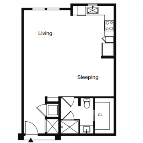 Studio Floor Plan | Luxury Apartments Sarasota Fl | ARCOS