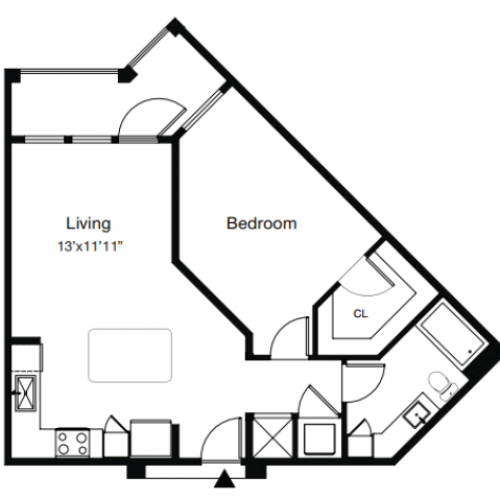 1 Bdrm Floor Plan | One Bedroom Apartments Sarasota Fl | ARCOS