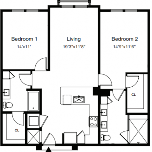 2 Bedroom Floor Plan | Luxury Apartments Sarasota Fl | ARCOS