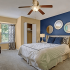 Bedroom Interior: Navy blue and cream color walls with white trim, Beige platform bed with white coverings and blue accent pillows, carpet flooring, contemporary nightstands and table lamps, Large windows with patterned curtains,
