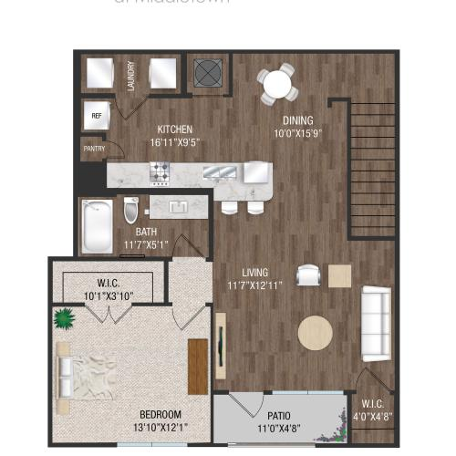 A2U - 1 Bed 1 Bath Floorplan