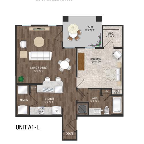 A1L - 1 Bed 1 Bath Floorplan