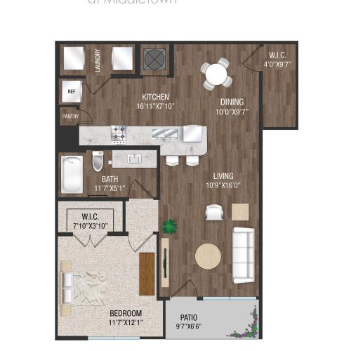 A2L - 1 Bed 1 Bath Floorplan