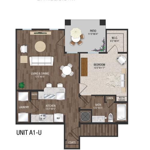 A1U - 1 Bed 1 Bath Floorplan