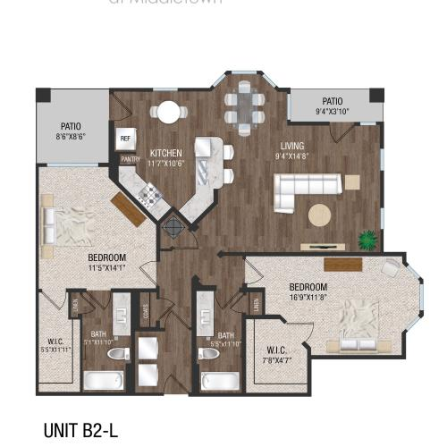 B2L - 2 Bed 2 Bath Floorplan