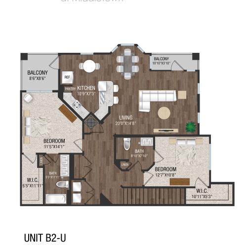 B2U - 2 Bed 2 Bath Floorplan