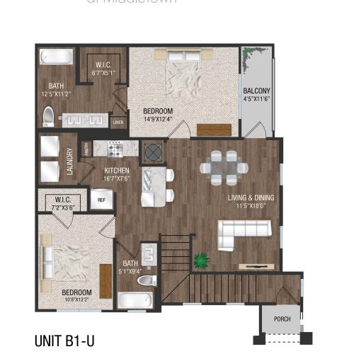 B1U - 2 Bed 2 Bath Floorplan