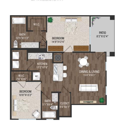 B1L - 2 Bed 2 Bath Floorplan