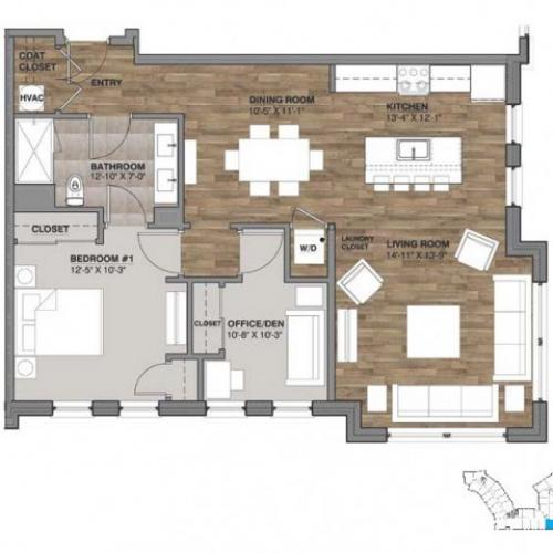 One Bedroom with Den - Unit Q
