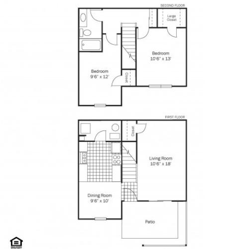 Two-bedroom townhome