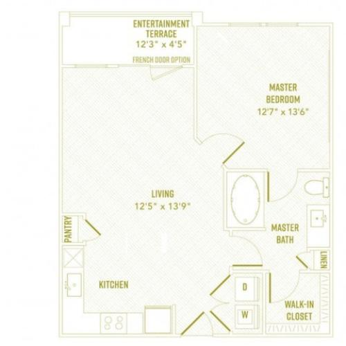 1 Bedroom Floor Plan | Apartments In Rowlett TX | The Towers at Bayside