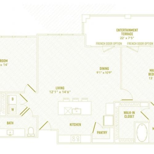 2 Bdrm Floor Plan | New Apartments Rowlett TX | The Towers at Bayside