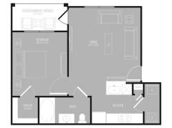 1 Bedroom Floor Plan   Apartments In Rowlett TX   The Mansions at Bayside