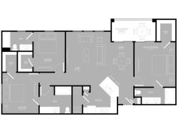 3 Bedroom Floor Plan | Apartments In Rowlett Texas | The Mansions at Bayside