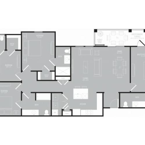 4 Bedroom Floor Plan | Apartments Rowlett Texas | The Mansions at Bayside