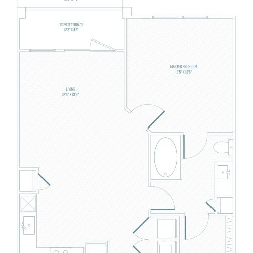 1 Bedroom Floor Plan | Apartments In Farmers Branch TX | Luxe at Mercer Crossing