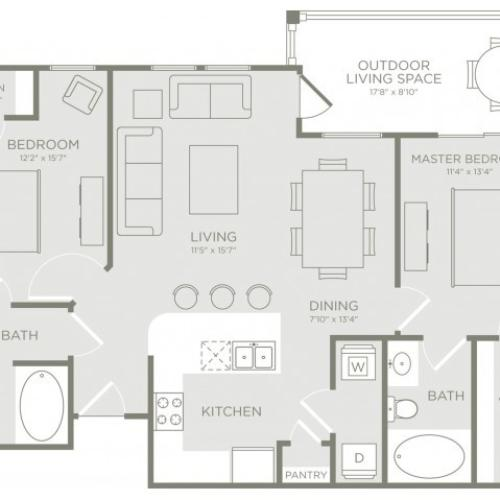 Floor Plan 4 | Apartments In Conroe TX | The Towers Woodland