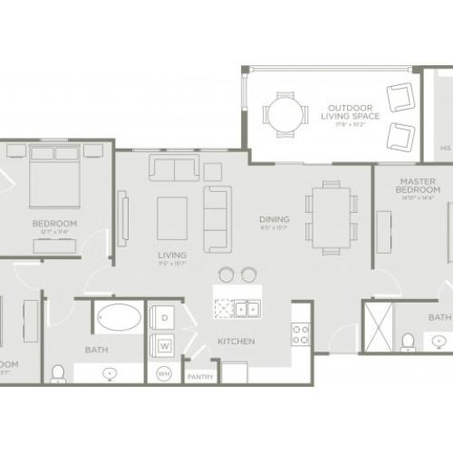 Floor Plan 6 | Conroe Apartments | The Towers Woodland