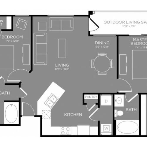 Floor Plan 3   Apartments Aubrey TX   The Estates 3Eighty